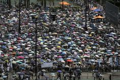 Umbrellas aplenty during aJuly 1 protest in Honk Kong.
