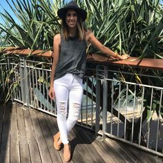 Another beautiful day in Redcliffe🌊🌴 Miss Jess rocking the new Coco Top $49.95 & Raw White Denim Jeans $69.95 SHOP both in store & online at Orange Sherbet xx   FREE express shipping on orders over $50✔  http://www.orangesherbet.com.au/collections/pants-and-jeans/products/raw-white-denim-jeans http://www.orangesherbet.com.au/collections/frontpage/products/coco-top-charcoal-multi
