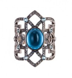 Axenoff Jewellery » Ring «Tsarevich» - Silver, Blue topazes, Sapphires.