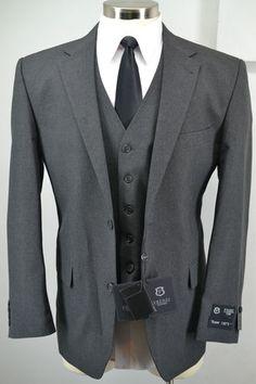 New Frenzi Uomo Mens Charcoal Grey 3 Piece Suit Blazer Vest Pants 38R 50R | eBay
