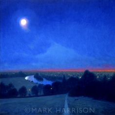 I lived in Richmond for a few years and know this view very well. Oil on board. Richmond Upon Thames, Richmond Hill, Oil Painters, Full Moon, Landscape Paintings, Northern Lights, London, Board, Travel