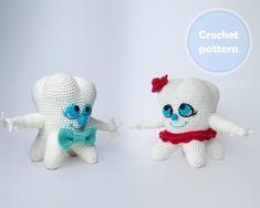 Crochet Toy Tooth-boy and Tooth-girl Pattern PDF Crochet | Etsy Crochet Toys Patterns, Stuffed Toys Patterns, Crochet Ideas, Crochet Gifts, Crochet Hooks, Etsy Handmade, Handmade Items, Handmade Jewelry, Handmade Gifts