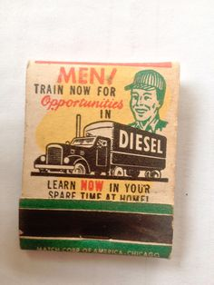 Men Train Now for Opportunities in DIESEL #frontstriker #matchbook To order your Business' own Branded #matchbooks or #matchboxes GoTo: www.GetMatches.com or CALL 800.605.7331 TODAY! *Check out our Blog: kingmatch.wordpress.com