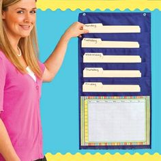 Weekly Planning Pocket Chart - Five pockets hold your daily to-do notes, plans and papers. One large, clear pocket holds one of four included organizational charts. Includes one calendar, two daily schedules and one blank chart.