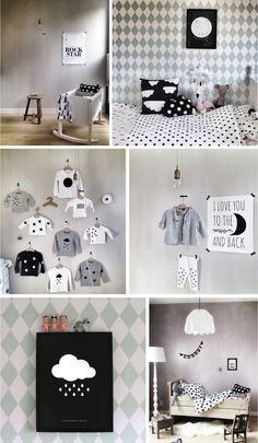 Gorgeous black and white decorations for a kids room
