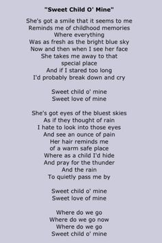 Guns N Roses,sweet child of mine