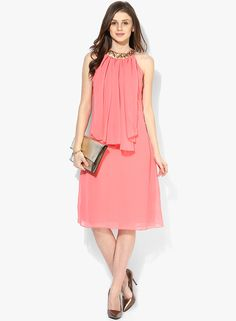 217e56c3e33 Buy MEEE Peach Colored Embellished Shift Dress for Women Online India
