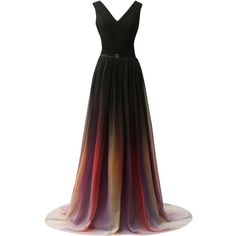 Amazon.com: JAEDEN Gradient Chiffon Formal Evening Dresses Long Party... ($45) ❤ liked on Polyvore featuring dresses, gowns, long evening gowns, long gown, formal gowns, long white gown and long prom dresses