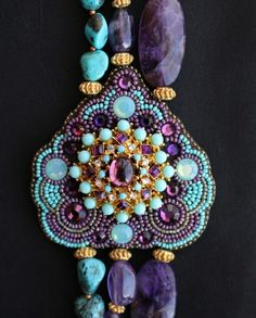 Genuine Amethyst & Turquoise Nugget Necklace - Faria Siddiqui