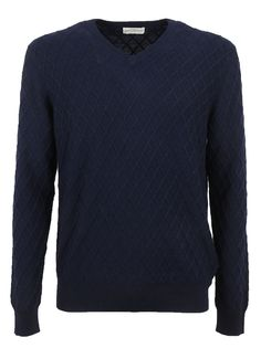 BALLANTYNE LATTICE V-NECK JUMPER. #ballantyne #cloth #