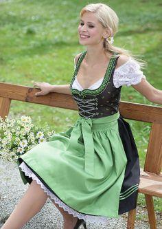 Dirndl Grün/Schwarz Kombi -> Petticoat mit Spitzenabschluss!