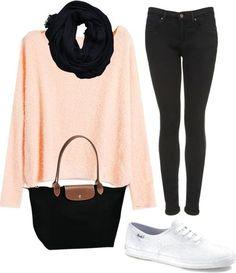 este es un traje de la escuela . los pantalones son de color negro como la bolsa . No me gusta el suéter de color rosa . mi madre le va a gustar esto. .