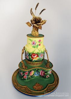 Floral Wedding Cake by ccmanveer (5/7/2013) View details here: http://cakesdecor.com/cakes/62017