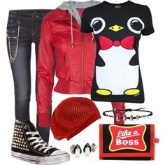"""Penguin Outfit"" by angela-windsor on Polyvore  I SERIOUSLY just want this penguin shirt!!!!"