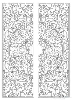 Drawings of iron doors and doors Stencil Patterns, Stencil Designs, Pattern Art, Pattern Design, Islamic Art Pattern, Arabic Pattern, Colouring Pages, Coloring Books, Motif Oriental