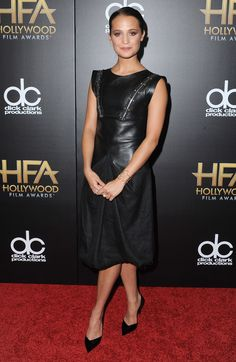 Alicia Vikander wearing Louis Vuitton at the 2015 Hollywood Film Awards in Los Angeles.