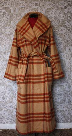 Women's Vintage Orange and Tan Plaid Winter Coat by pursuingandie, $145.00