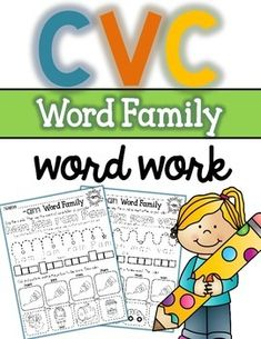 CVC Word Family Word Work will help your students stay engaged with learning over 25 word families. Lots of practice with no prep required. Just print and go! Engaging activities include coloring, tracing, cutting and pasting. The word families included in this packet are: 1. -ad 2. -ag 3. -an