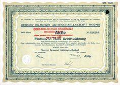 Werger Brauerei Aktiengesellschaft 1 000 RM 1925