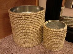 Use hot glue to glue sisal rope around a metal/tin can for this neat home decor/storage container.