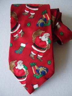 Vintage Christmas Santa Necktie Holiday Silk by Sarasvintageattic