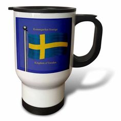 3dRose The flag of Sweden with Kingdom of Sweden in English and Swedish., Travel Mug, 14oz, Stainless Steel