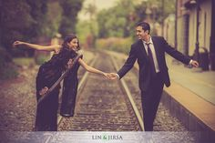Engagement shoot by the railway tracks