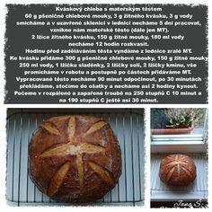 Kváskový chleba s mateřským těstem Baked Potato, Potatoes, Bread, Baking, Ethnic Recipes, Facebook, Food, Potato, Brot