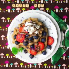 celebrating Earth Day with vegan buckwheat waffles 🍄🌱🕊🦋🥜🐿