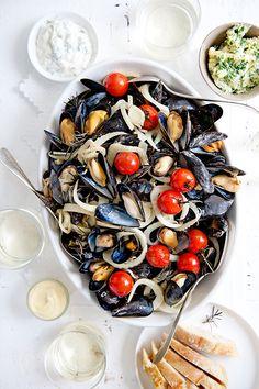 Lemon Kitchen, Shrimp Dishes, Dutch Recipes, Acai Bowl, Seafood, Fish, Dining, Fruit, Vegetables
