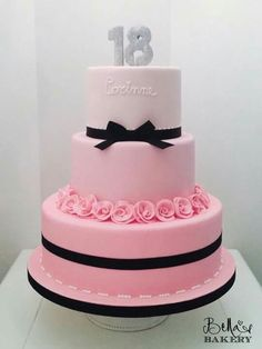 Simple but  very elegant! 18th birthday cake