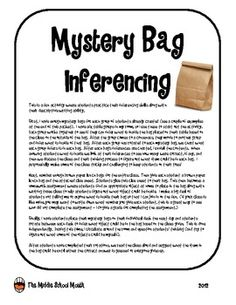 Mystery Bag Inferencing Fun! This is a fun activity where students practice their inferencing skills along with their descriptive writing ability.