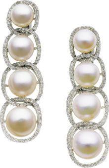 Estate Jewelry:Earrings, Diamond, South Sea Cultured Pearl, White Gold Earrings