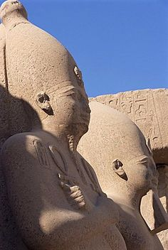 Statues of pharaohs in the Temple of Amun (Amon), Temple of Karnak, Thebes, UNESCO World Heritage Site, Egypt Ancient Beauty, Ancient Egyptian Art, Ancient History, Kemet Egypt, Egyptian Pharaohs, Cairo Egypt, African Tribes, African History, Gods And Goddesses