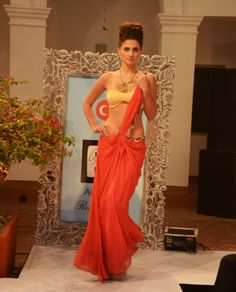 Sunset orange embroidered georgette sari gown, copper satin bandeau-bra (INR 19,900)