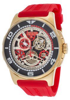 Invicta 18949 Watches,Men's Sea Vulture Reserve Chronograph Red Silicone Skeletonized Dial, Diver Invicta Quartz Watches