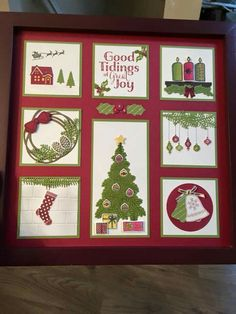 Stamp set for each pic Christmas Shadow Boxes, Christmas Collage, Christmas Frames, Christmas Projects, Hand Made Greeting Cards, Making Greeting Cards, Xmas Cards, Holiday Cards, Homemade Christmas Cards