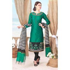 Ethnic Wear Readymade Green Salwar Suit - 79826