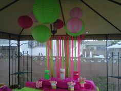 lime green and hot pink