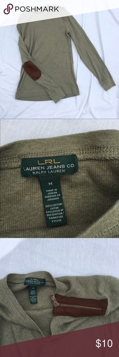 """Lauren Ralph Lauren LS Top with Suede Patches Lauren Ralph Lauren long sleeve olive green top with suede elbow patches and shoulder detail.  Good used condition with no tears or stains.  Elbow patches are in excellent shape.  Macho washable for easy care.  Great career top!  100% cotton.  Armpit to armpit: 16"""".  Arm length: 22.5"""".  Length: 22.5"""".  Thanks for looking and happy Poshing!! Lauren Ralph Lauren Tops"""