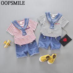 Toddler Boys Clothing Newborn Baby Boys/Girls Sets 2017 Summer 2pcs Cotton Navy T-shirt Children's Clothing Baby Suit #Affiliate