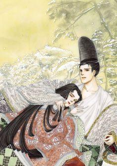 Hikaru Genji and Murasaki no Ue from The Tale of Genji, illustrated by Waki Yamato.
