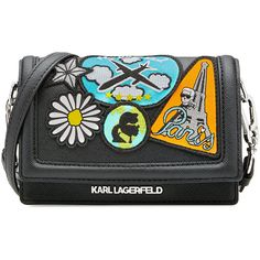Karl Lagerfeld Karl Around The World Crossbody Bag ($210) ❤ liked on Polyvore featuring bags, handbags, shoulder bags, black, crossbody travel purse, shoulder strap bag, black cross body purse, travel purse and black evening purse