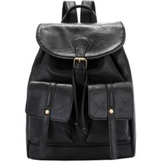 FC Select Design New Vegan Leather Drawstring Double Pocket Backpack