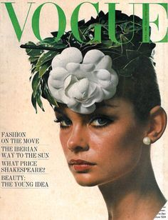 Vintage Poster - Vogue April 1964 - Photographer David Bailey - Fashion - Magazine - Flower - Fascinator - Headpiece - 60's - 1960's