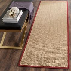 Natural Fiber Maize/Burgundy (Yellow/Red) 2 ft. 6 in. x 10 ft. Runner Rug