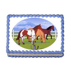 Grazing Horses  Edible Image Cake  Cupcake Topper -- You can get additional details at the image link.