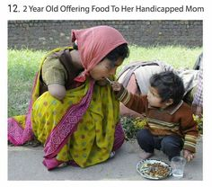20 Breathtaking Pictures Of The Human Race: Young boy helping to feed his mother, who sadly lost both of her arms