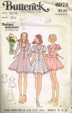 Empire Waist Scoop Neckline Mini Dress by Young Designer Betsey Johnson Butterick 6978 Sewing Pattern by PeoplePackages