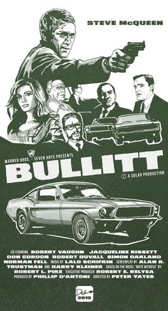 "Bullitt Fan Art /Poster What if I designed the poster for the classic Steve McQueen film ""Bullitt"" in 1968?   2015 -Sketchbook pro /adobe Photoshop"